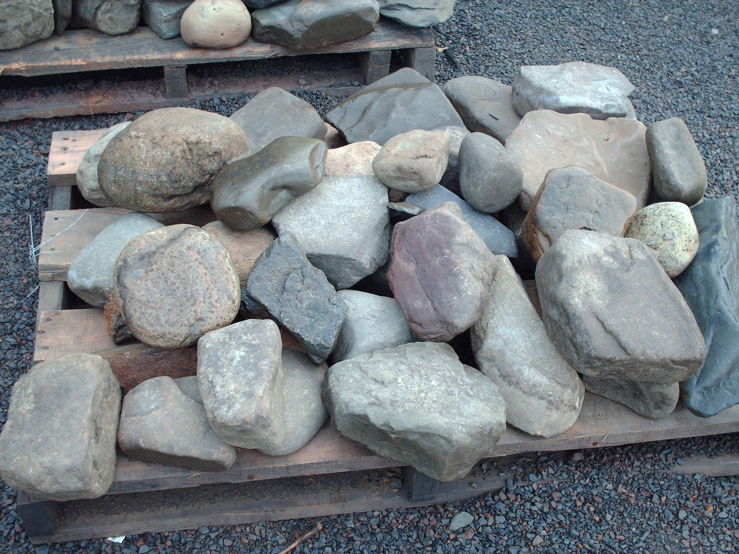 Landscaping rocks stones on pallets buy this pallet of creek stones workwithnaturefo